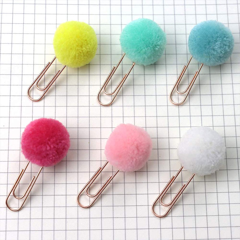 100pcs/lot Multi-color Pompoms Metal Planner Paper Clips For Photos Books Notebook Cards Stationery Decor