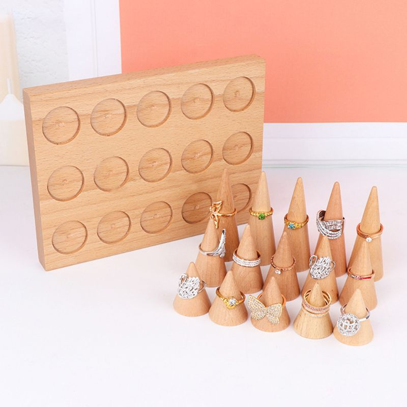 Natural Wood Cone Shape Finger Ring Stand Jewelry Display Holder Showcase Display Stands Rings Bracelet Jewelry Tray