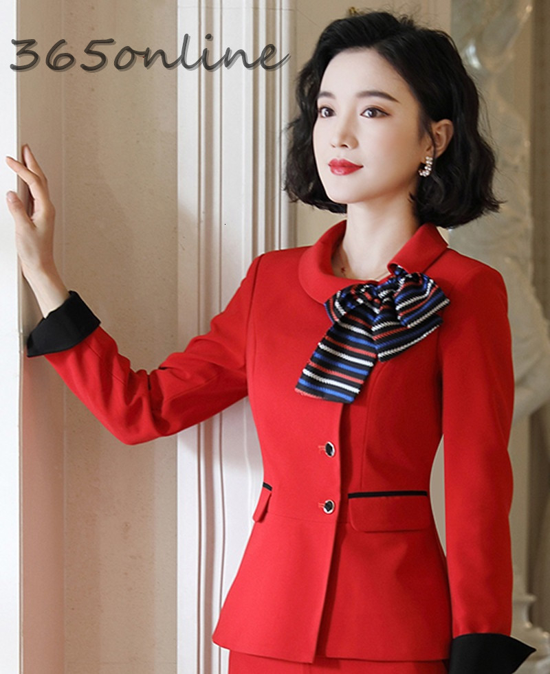 Formal Blazers And Jackets With Scarf OL Styles Elegant Long Sleeve Autumn Winter Ladies Office Blazer Coat Outwear Tops Clothes