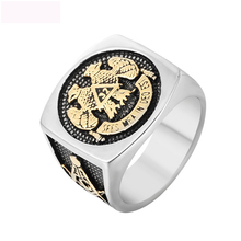 Luxury  Freemasonry AG Eagle Finger Rings Titanium Steel  Casting Rings Jewelry Anniversary Party Gifts For Men luxury death punk titanium steel finger rings skeleton jewelry skull rings anniversary engagement party wedding gifts for men