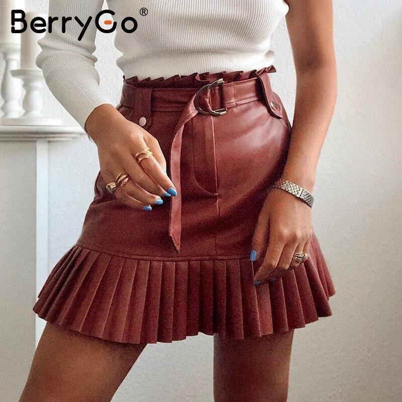 BerryGo Autumn Ruffled High Waist Female Short Skirt A-line Party Club Wear Ladies Skirts Sexy Sash Belt PU Leather Women Skirt
