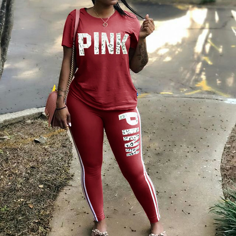 S-XXXL Plus Size 2 Piece Set Women Tracksuit Casual PINK Letter Print Tops Skinny Pants Sexy Sweat Suits Short Sleeve Tee Shirt