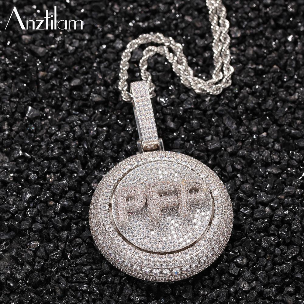 Rotatable Hip Hop High-Quality Gold Silver Color Round Custom Name Logo Letter  Pendants Bling Long Link Chain Necklace For Men