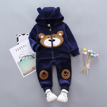 Hot Popular Fashion Korean Cute Children's Clothing Plus Velvet Thickening Boys Girls Plush Bear Cartoon Sweater Hooded Suit