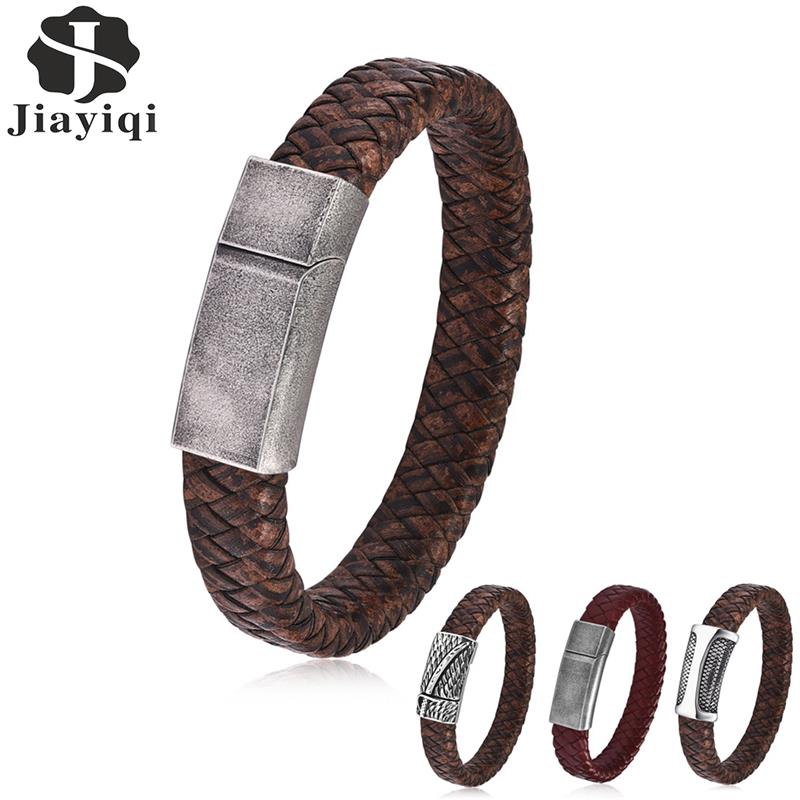 Jiayiqi Retro Magnetic Clasp Leather Bracelet for Men Braided Chain Bracelet Punk New Fashion Stainless Steel Male Jewelry Gifts