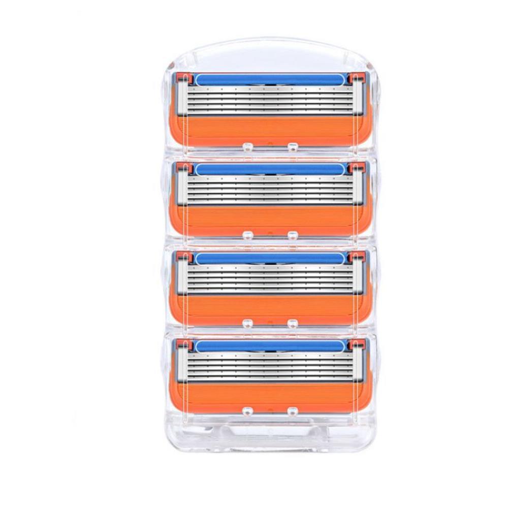 4 шт. бритвенных лезвий для бритья Gillette Fusion заменить Для мужчин t головки для лица бритва кассеты 5 слоев Нержавеющаясталь лезвие для Для муж...