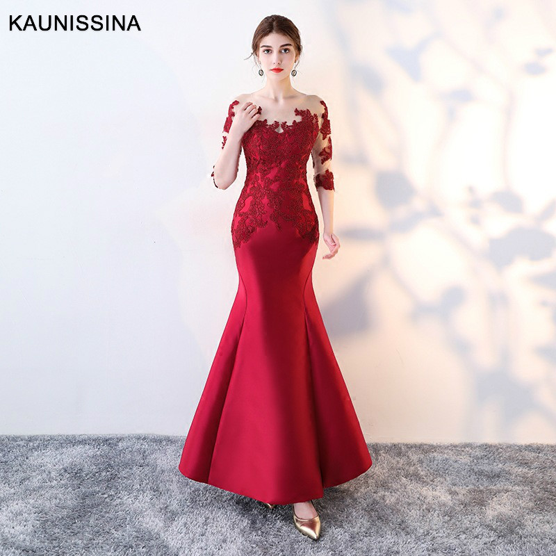 KAUNISSINA Long Party Gowns Red Mermaid Evening Dress Half Sleeve Appliques Elegant Vestido Long Prom Gowns