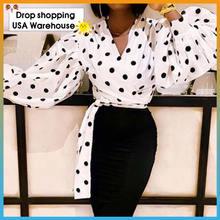 Женская Повседневная рубашка в горошек с длинным рукавом фонариком