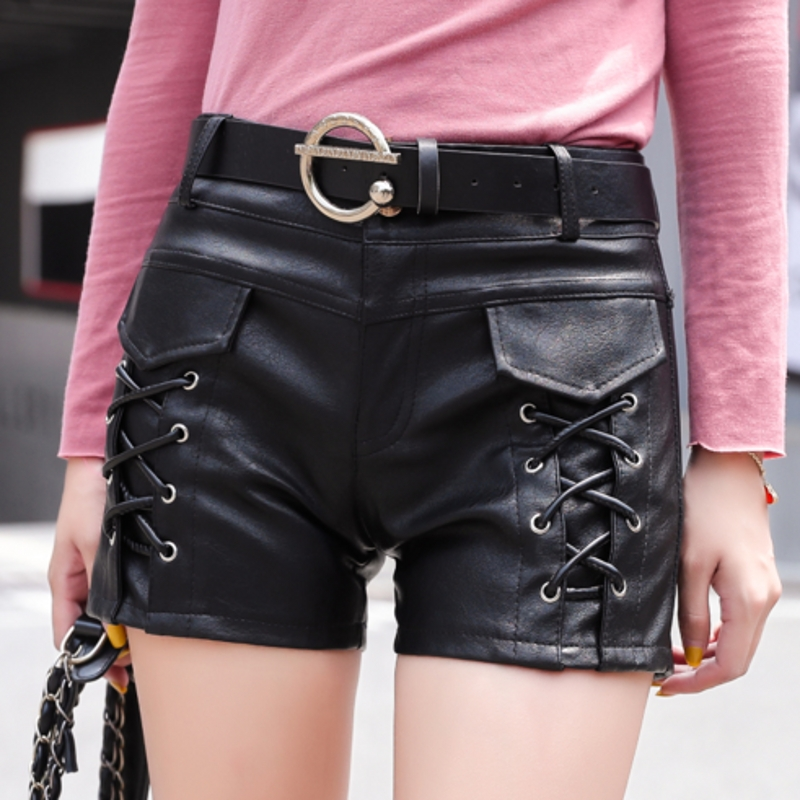 Hot Korean Clothes With Belt Lace Up Booty Shorts 2019 Women Autumn Winter Fashion PU Sexy Leather Black Short Feminino B9N220