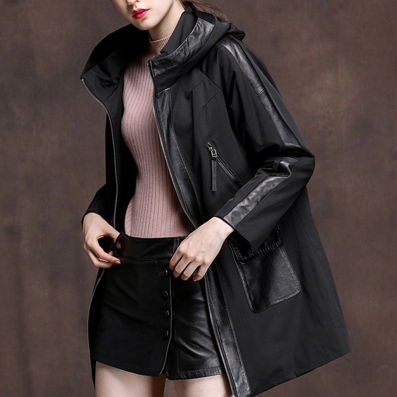 Autumn New Winter Leather Real Cotton Coat Medium Length Loose Sheepskin Cut Women's Cap Coat