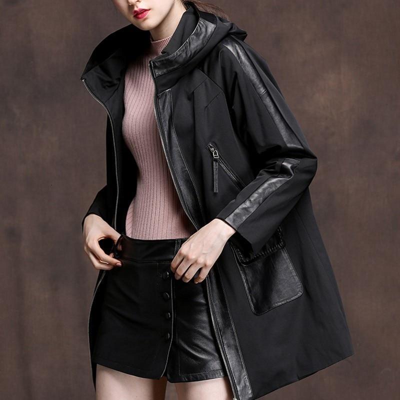 Autumn New Winter Leather Real Cotton Coat Medium Length Loose Sheepskin Cut Women's Cap Coat