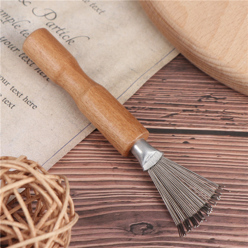 1PCS Wooden Comb Cleaner Delicate Cleaning Removable Hair Brush Comb Cleaner Tool Handle Embeded Tool
