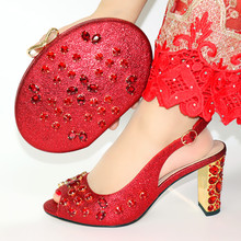 New Fashion African Lady Shoe And Bag Set For Party Luxury High Heels Wedding Shoes Pumps Red Quality Shoe With Matching Bag new gold office shoe and bag set women shoes and bag set in italy design italian shoes with matching bag set wedding dress shoes