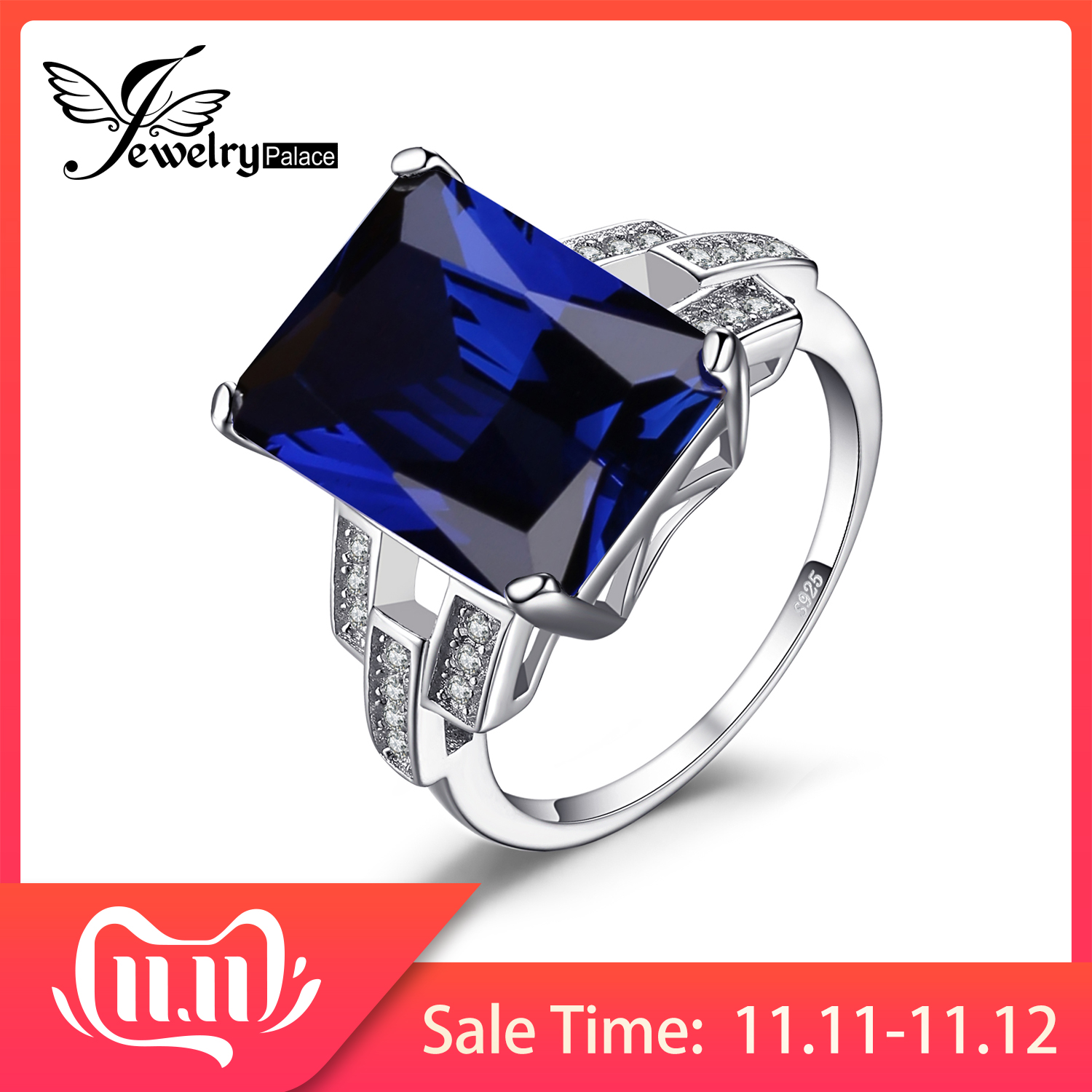 JewelryPalace 9ct Created Blue Sapphire Ring 925 Sterling Silver Rings For Women Engagement Ring Silver 925 Gemstones Jewelry