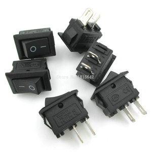 10PCS/LOT 10*15mm SPST 2PIN ON/OFF Boat Rocker Switch 3A/250V KCD1-101 Mini Black Red White Switch