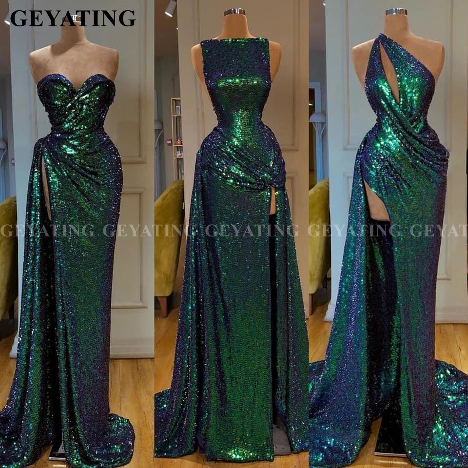 Sparkle Sequined Emerald Green Mermaid African Prom Dresses 2020 Sexy One Shoulder Sleeve Slit Arabic Evening Gowns Formal Dress
