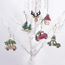2020 Mixed 3pcs/lot Wood Car Deer Tree House Pendants Wooden Crafts Christmas Hanging Ornaments for New Year Xmas Party Decor
