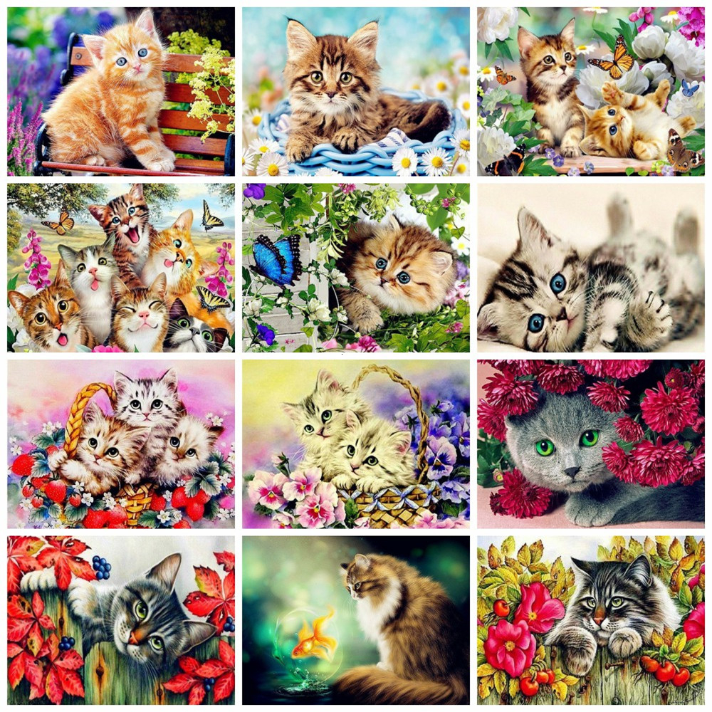 HUACAN Picture By Numbers Animal Oil Painting Cat Kit Acrylic Paint On Canvas Wall Art HandPainted Home Decor DIY Gift