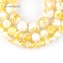 """цена Natural Faceted Yellow Fire Agates Stone Round Loose Beads For Jewelry Making 6-10mm Spacer Beads Fit Diy Bracelet 15"""" Strand онлайн в 2017 году"""