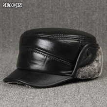 SILOQIN Dads Hat High Quality Genuine Leather Middle Old Aged Sheepskin Military Hats Earmuffs Thicken Winter Warm Flat Cap