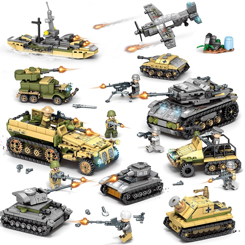 Ewellsold Building Blocks 1061pcs Military Series Helicopter ww2 Figures Weapon Gun Soldiers Tank Educational Toys for Children image