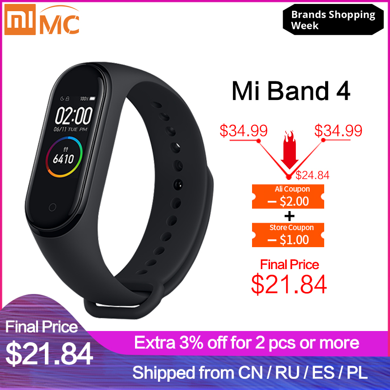 Xiaomi Bracelet Miband Fitness Heart-Rate In-Stock Bluetooth Music Waterproof Smart 3-Color