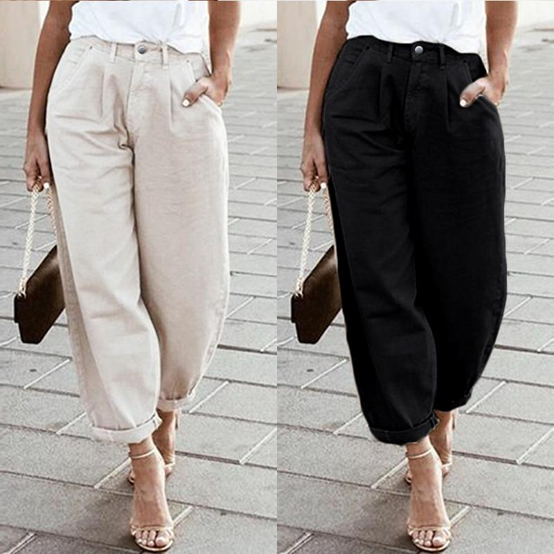 ZANZEA 2020 Fashion Women Pants Wide Legs Bib Cargo Long Pantalones Femme  Dungaree Long Harem Trousers Pockets Streetwear S-5XL