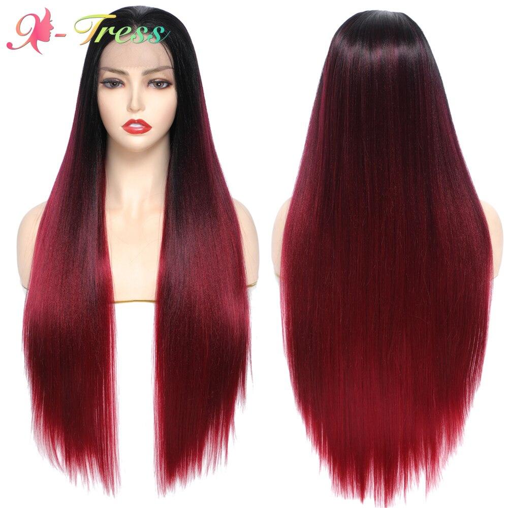 Perucas sintéticas do laço da parte dianteira do laço de ombre do vinho vermelho reto longo de X-TRESS para as perucas sintéticas das mulheres com cabelo do bebê livre peruca do laço resistente ao calor