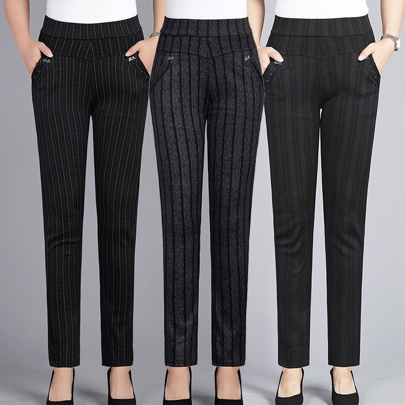 Spring Autumn Middle Aged Women Elastic Waist Casual Straight Pants Female Trousers Plus Size 5XL Lady Stripe Pencil Pants W1833