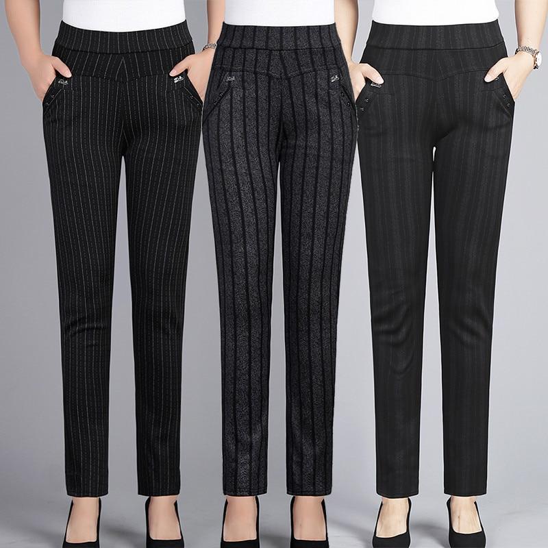 Spring Autumn Middle Aged Women Elastic Waist Casual Straight Pants Female Trousers Plus Size 5XL Lady Stripe Pencil Pants W1833