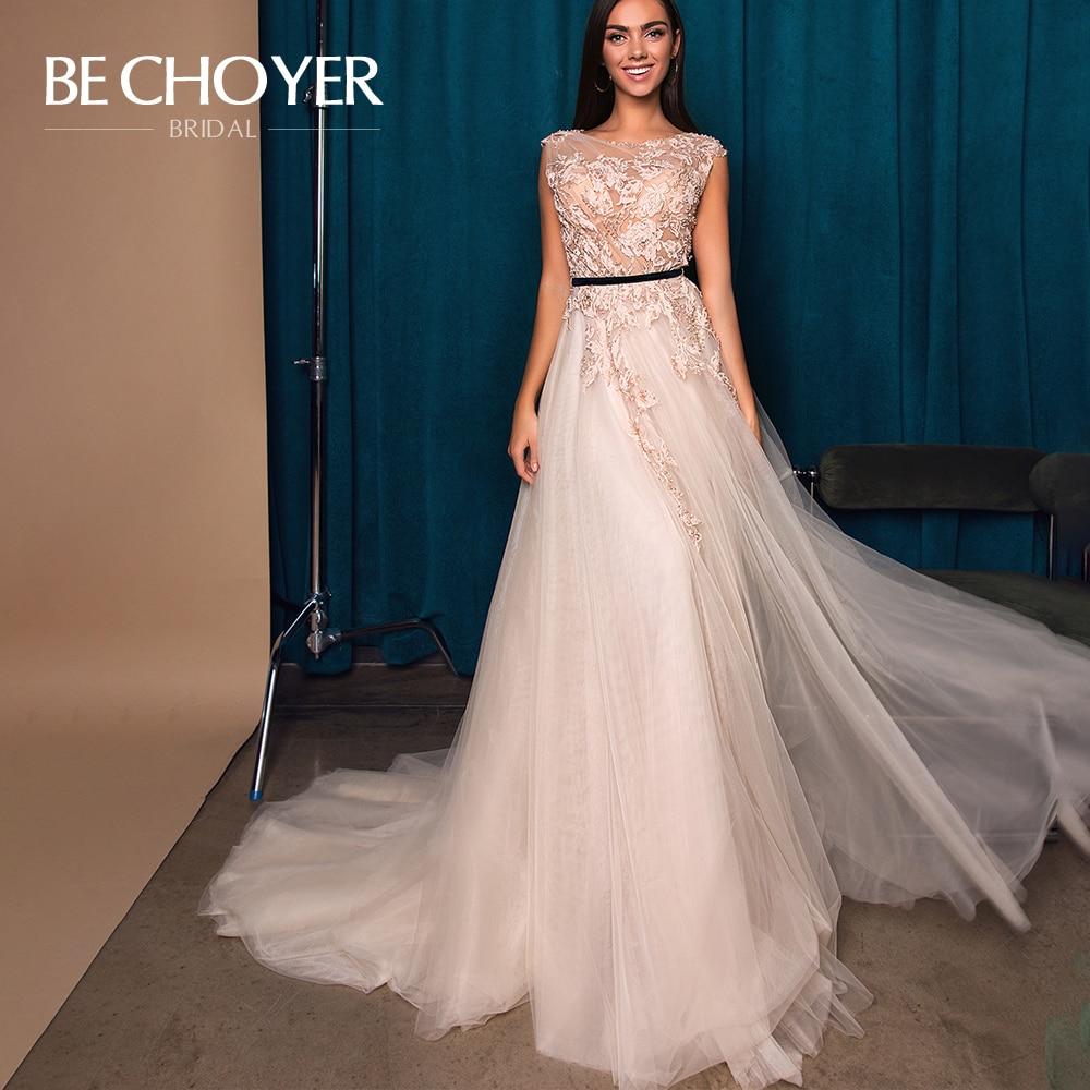 Vintage Appliques Lace Wedding Dress BECHOYER W117 O-Neck Backless A-Line Princess Prom Party Bridal Gowns Vestido De Noiva