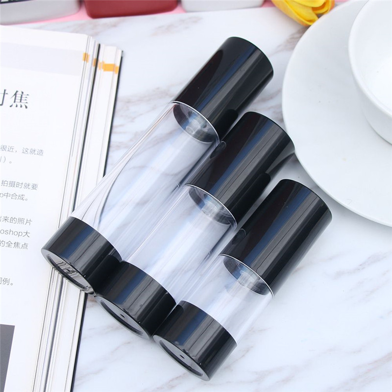 15 30 50ml Black Cap Transparent Plastic Empty Spray Refillable Bottles Travel Portable Serums Lotions Cream Cosmetic Container in Refillable Bottles from Beauty Health