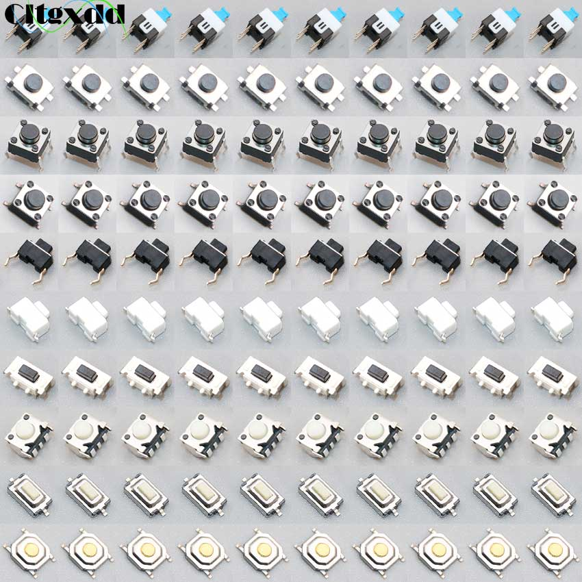 Cltgxdd Micro Switch 100PCS/lot 10Types Assorted Push Button Tact Switches Reset Mini Leaf Switch SMD DIP Diy Kit