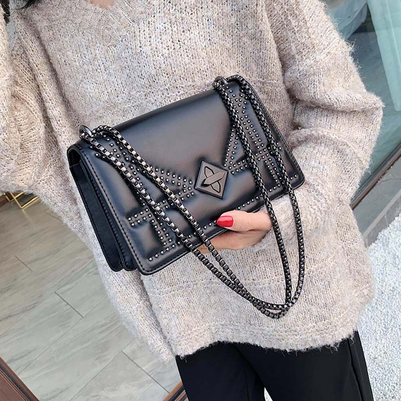 RAVIDINO Small Rivets PU Leather Crossbody Bags For Women 2020 Quality  Lady Shoulder Messenger Bag Female Luxury Chain Handbags