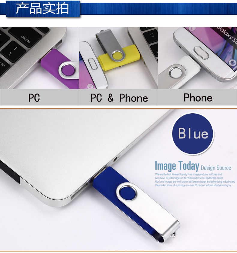 D'OTG USB Lecteur Flash 64GB 32GB 16GB 8GB Haute Vitesse En Métal USB OTG Lecteur de Stylo 128gb Mémoire Bâton pour smartphone/PC 2 en 1