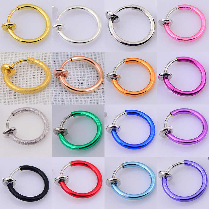 2 Piece/set Fake Nose Ring Goth Punk Lip Ear Nose Clip on Fake Septum Piercing Nose Ring Hoop Lip Hoop Rings