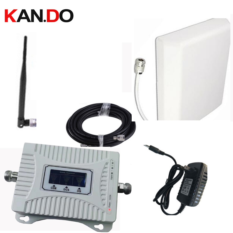 Home Use 2G 3G 4G Booster 900 1800 2100mhz Phone Booster 3 Band Mobile Signal Amplifier LTE Repeater GSM DCS WCDMA PANEL Antenna