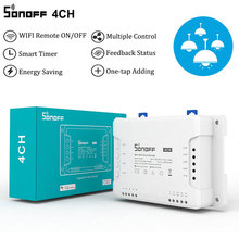 Sonoff 4CHR3 4 כנופיית Wifi אור חכם מתג, 4 ערוצים אלקטרוני מתג IOS אנדרואיד App שליטה, עובד עם Alexa Google בית