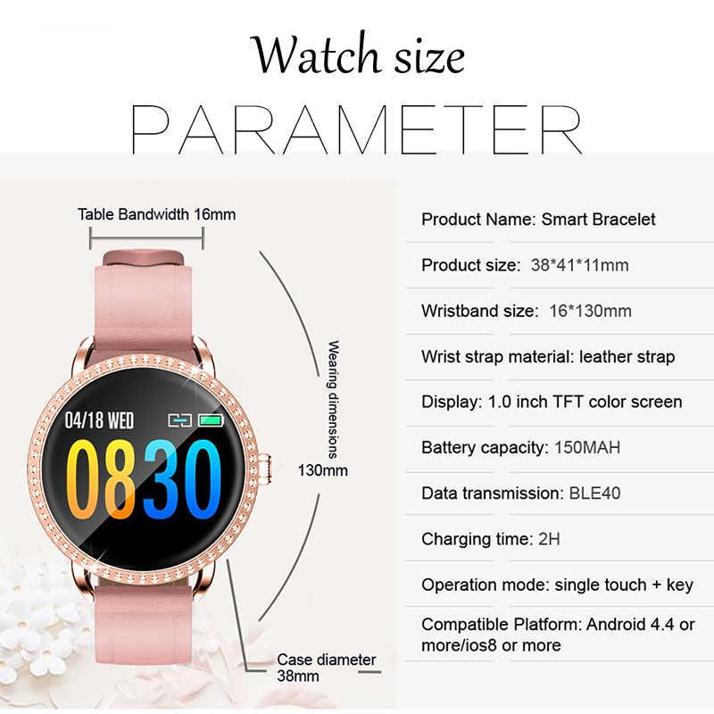 Kadın akıllı saat Metal kabuk IP67 Su Geçirmez Spor Iphone Için Smartwatch nabız monitörü Kan Basıncı Fonksiyonları Mens Için