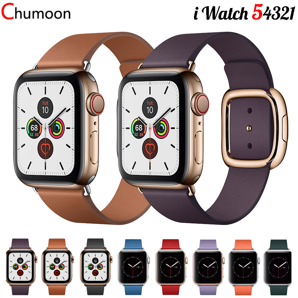 Strap For Apple Watch Band 44 Mm 40mm Apple Watch 5 4 3 2 1 Iwatch Band 42mm 38mm Genuine Leather Modern Buckle Bracelet Belt