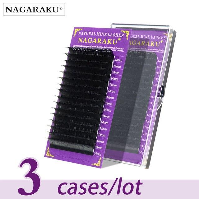 NAGARAKU 3 מקרי פו מינק הארכת ריסים ריסים ריסים מלאכותיים איפור כלי יופי סלון