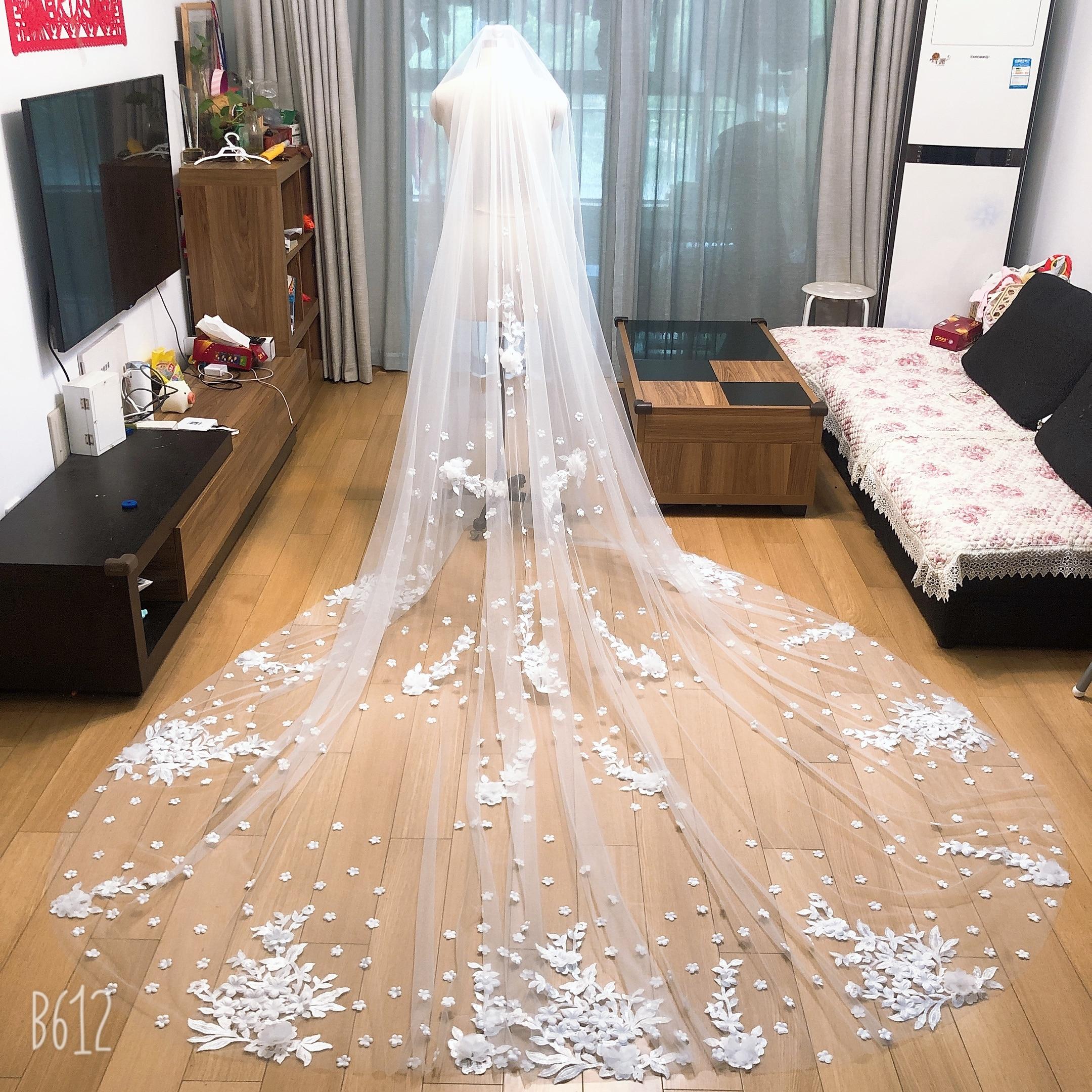 Casamento véu largura pente laço mantilla catedral véu nupcial acessórios de casamento veu de noiva ee89