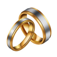 New Simple Gold Stainless Steel Rings For Women Men Fashion Couple Rings Jewelry Lover Engagement Ring Wedding Promise Ring Gift(China)