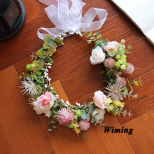 beach headwear headbands for young girls women props  travel holiday wedding  decoration Flower Wreath Hair Accessories цена и фото