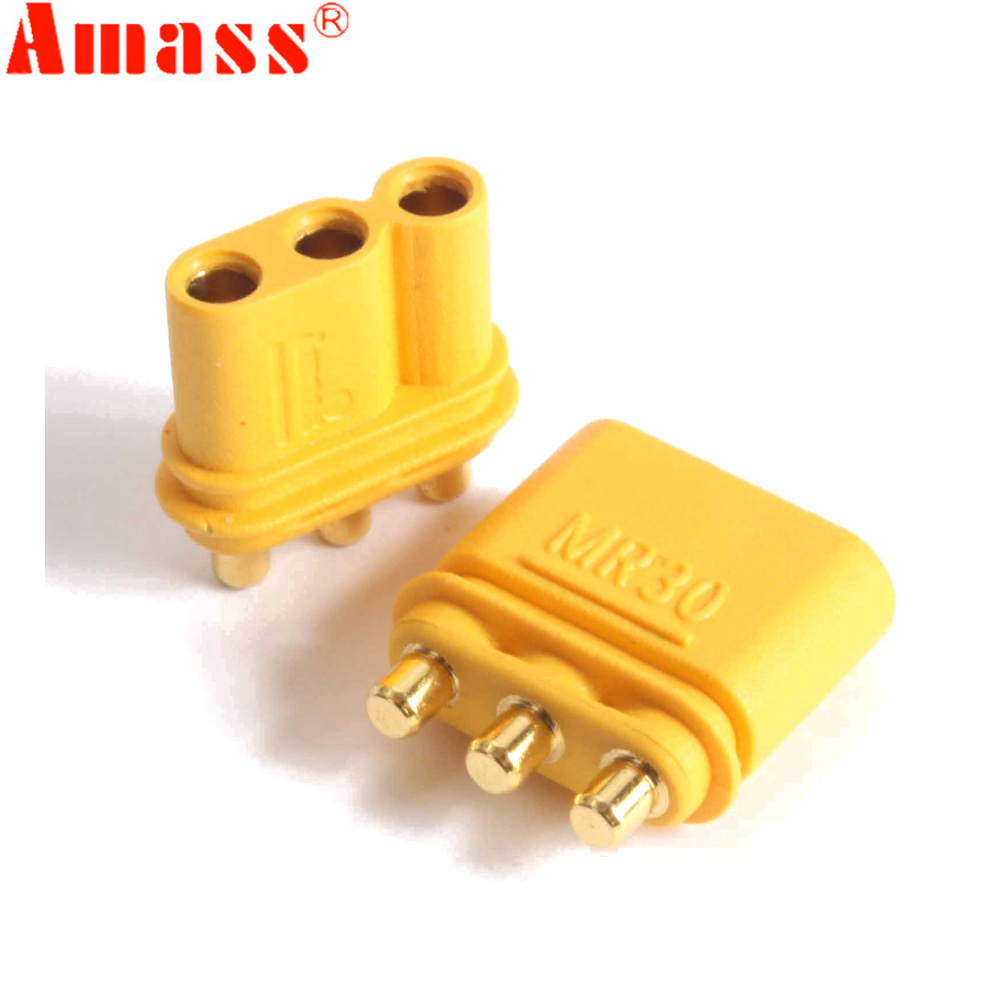 5/10/50 Pair Amass MR30PB Connector Plug With Sheath Female & Male For RC Lipo Battery RC Multicopter Airplane