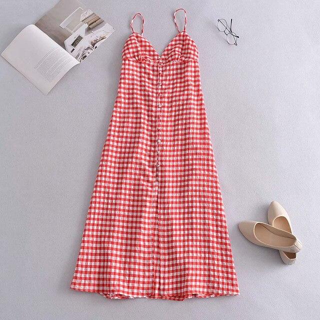 KUMSVAG Women Summer Plaid Dress 2021 Sleeveless Strapless Backless Female Elegant Street Mid-Calf Dresses Vestidos 3