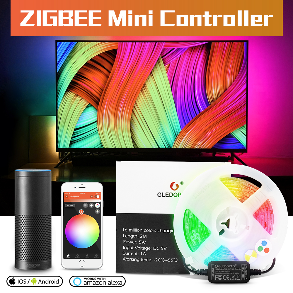 USB LED Strip Light TV Background Lighting Kit LED RGB+CCT Zigbee Smart APP Amazon Alexa Echo Plus Desktop Background Lamp 5V