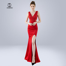 Skyyue Evening Dress Solid  V-neck Robe De Soiree Sleeveless Women Party Dresses 2019 Plus Size Crystal Split Formal Gowns C306