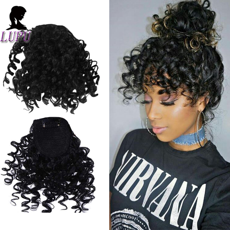 LUPU In-Hairpieces Bangs-Clips Synthetic-Hair-Extensions Curly Fringe Fake Natural-Black title=