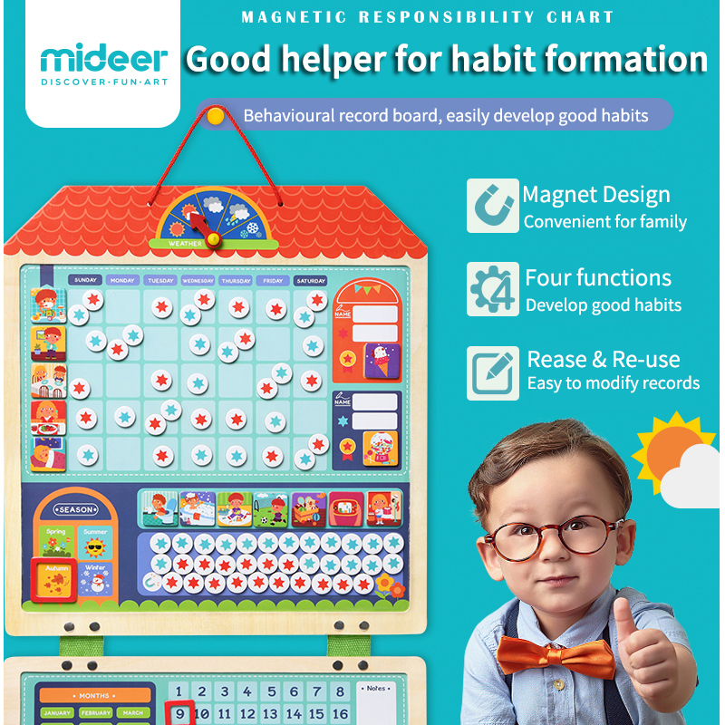 MiDeer Baby Education Toys Magnetic Hanging Behavior Record Wooden Board Safety Encourage 3Y+ Kids Home Rewards Games